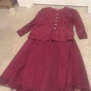 Tops - Women's XL Burgundy two piece skirt suit